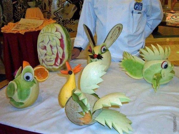 Поделки птицы с овощей и фруктов