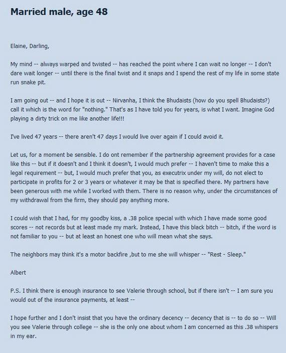 Posted by Cveskykusky on June 21  2011Really Sad Suicide Notes