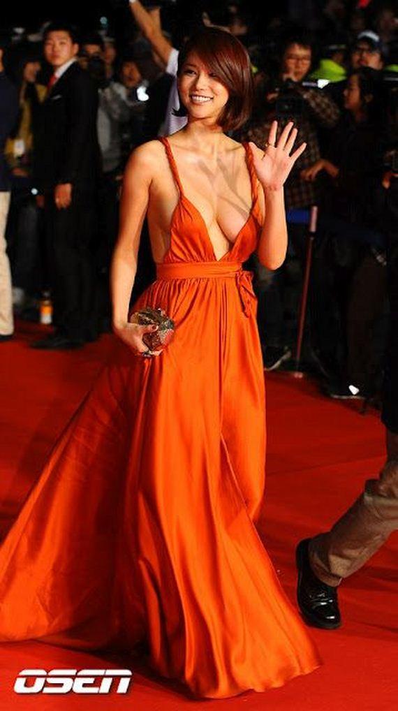 Korean Actress Oh In Hye Wearing Sexy Orange Dress Barnorama