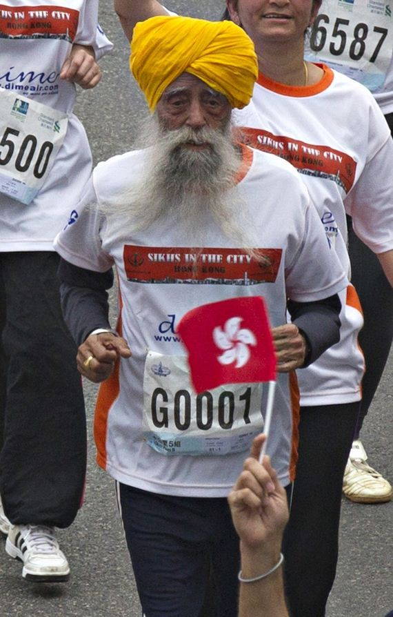 101-Year-Old-Marathoner-Fauja Singh Runs