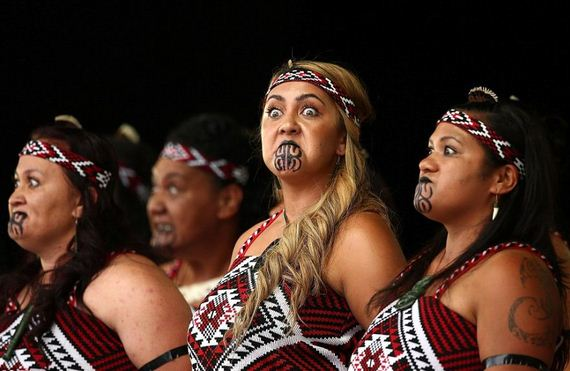Maori Dancers: Intricate Costumes, Elaborate Face And Body Tattoos, And