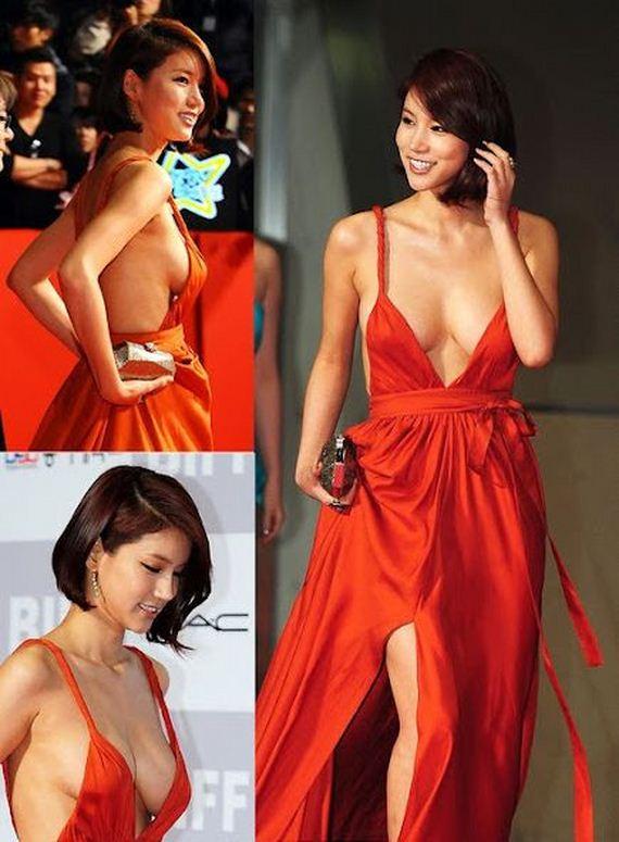 Korean Actress Oh In Hye Wearing Sexy Orange Dress - Barnorama
