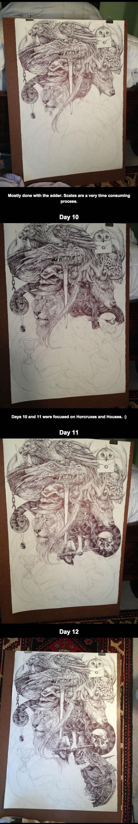 cool-Harry-Potter-drawing-lion-dragon-snake-sword