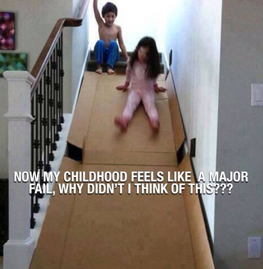 cool-kids-playing-stairs-cardboard-slide