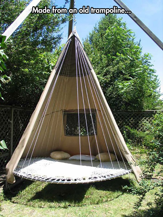 old-trampoline-bed-tipi