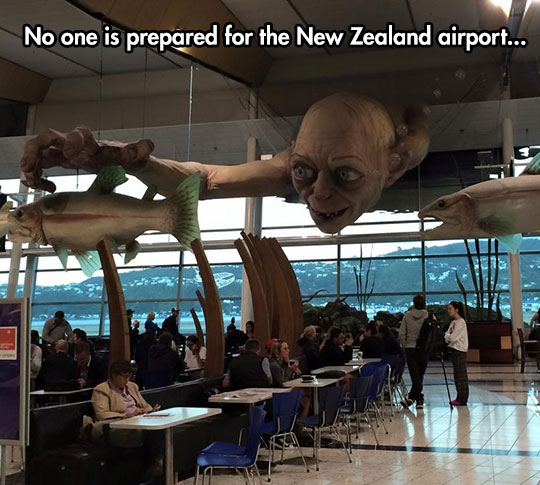 gollum-new-zealand-airport