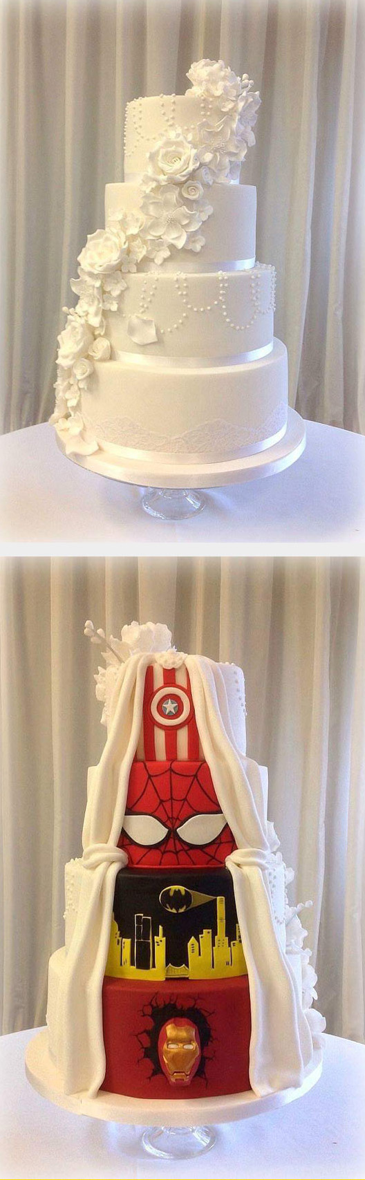 cool-cake-wedding-superhero-colors