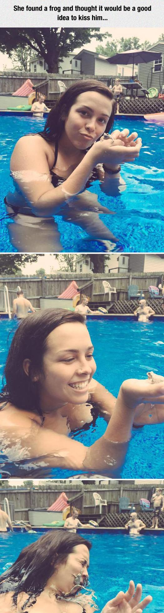 funny-girl-frog-kiss-pool-jump