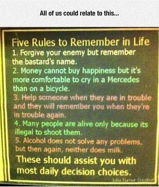 funny-sign-five-rules-life