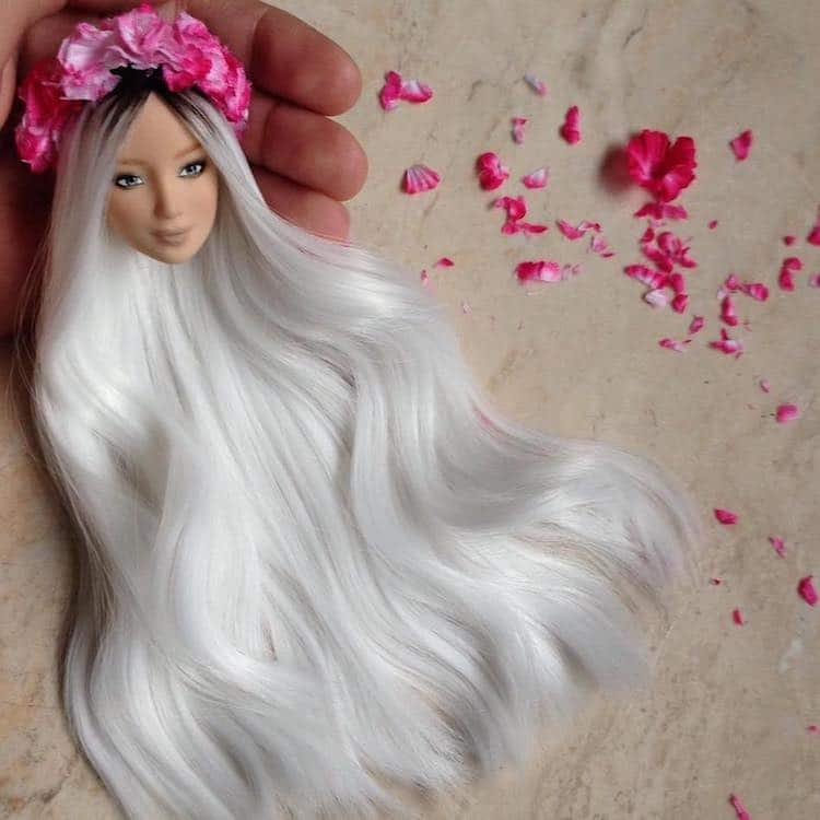 Artist Crafts Custom Tiny Wigs To Turn Ordinary Barbies