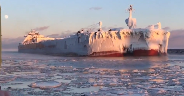 Massive Ship Covered In Ice Returns From Its Journey At