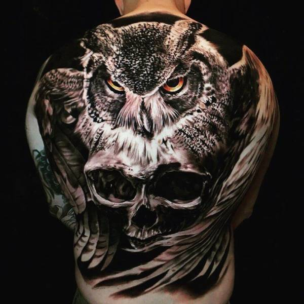 Owl Tattoo Men Back