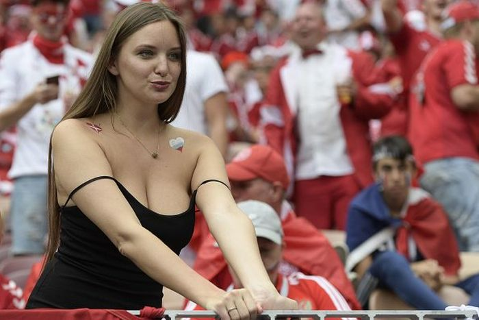 A Busty Fan At Denmark VS France Game Barnorama