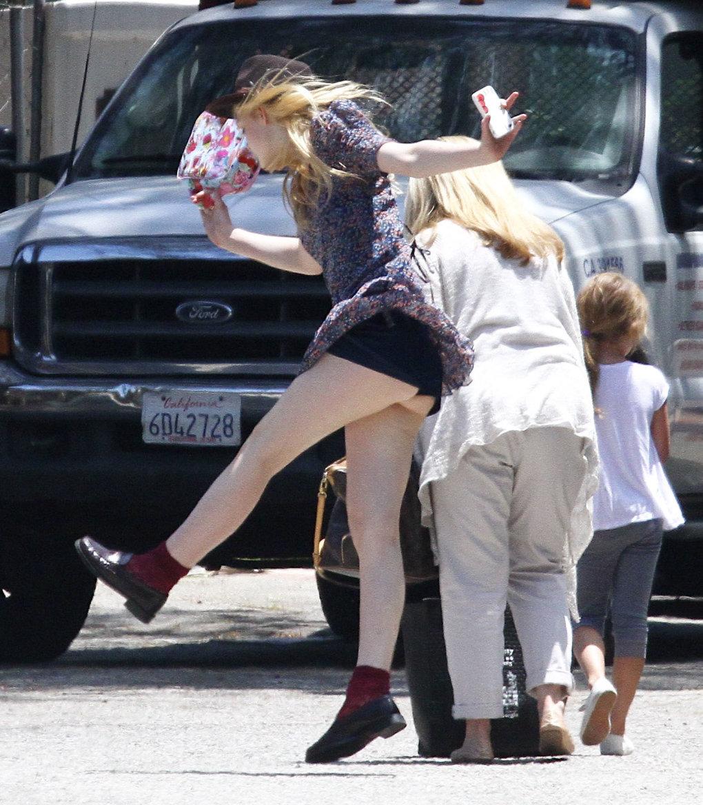 Dakota Fanning Up Skirt