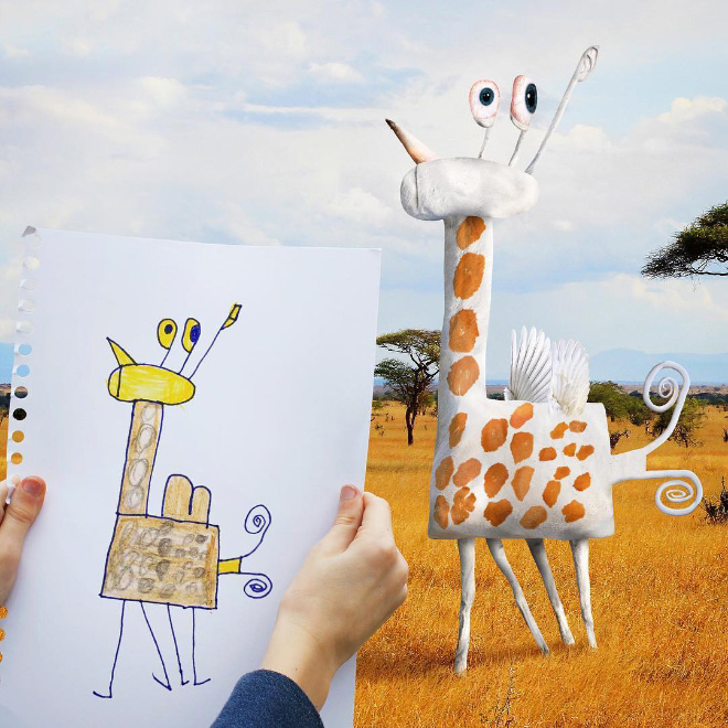 Dad Continues To Recreate Son's Drawings Into Hilarious ...