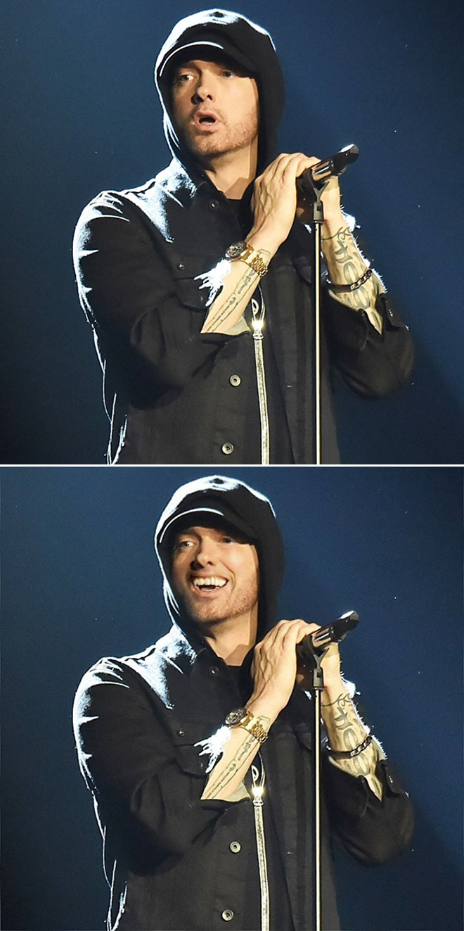 photoshop artist makes eminem smile  the results are