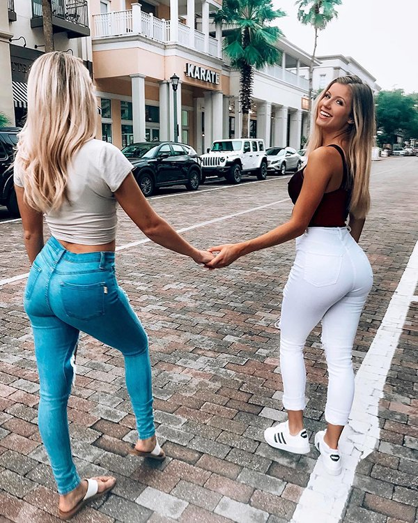 Teen girls in tight pants